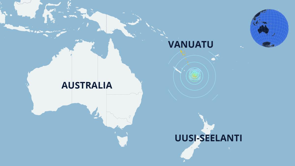 Kartta, jossa Vanuatu, Australia ja Uusi-Seelanti sekä järistyksen keskus.