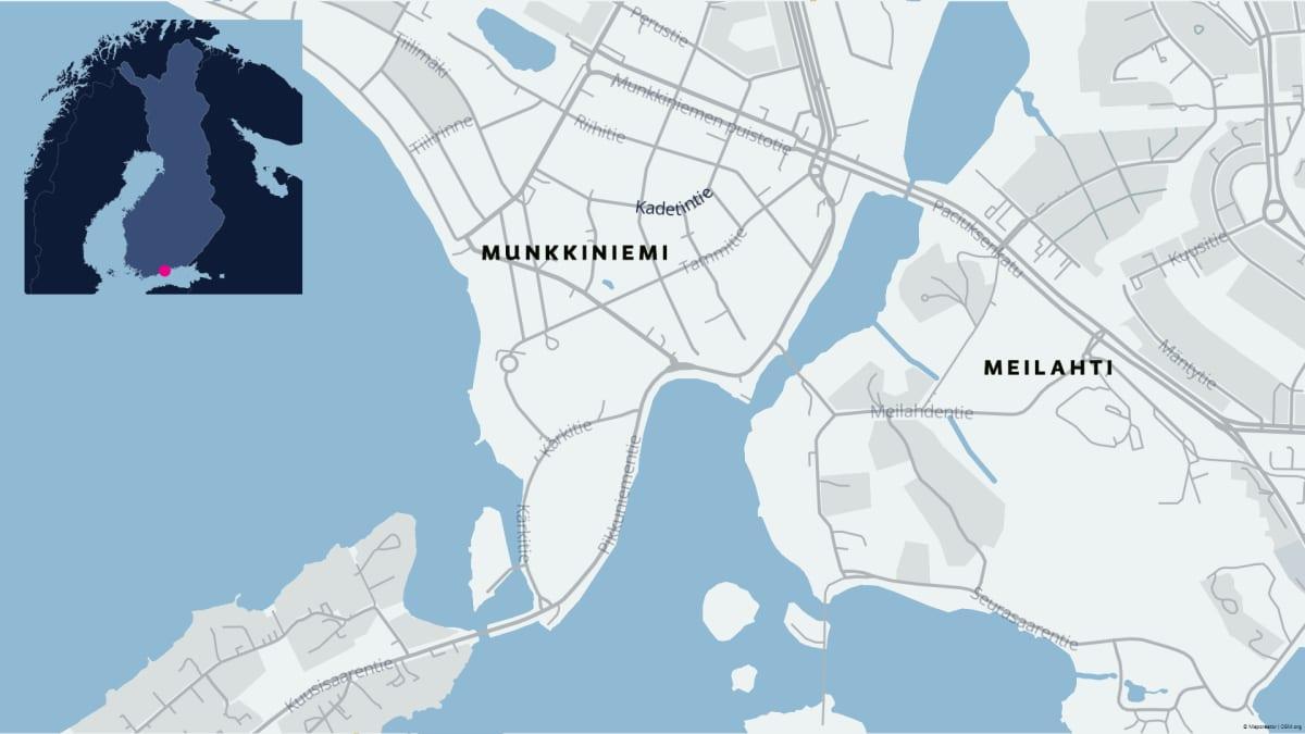Huoneistopalo Kadetintiellä Munkkiniemessä.