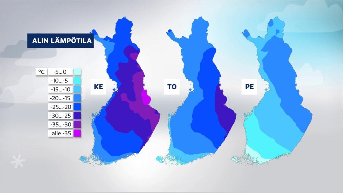 Sääkartta näyttää alimmat lämpötilat ke-pe.