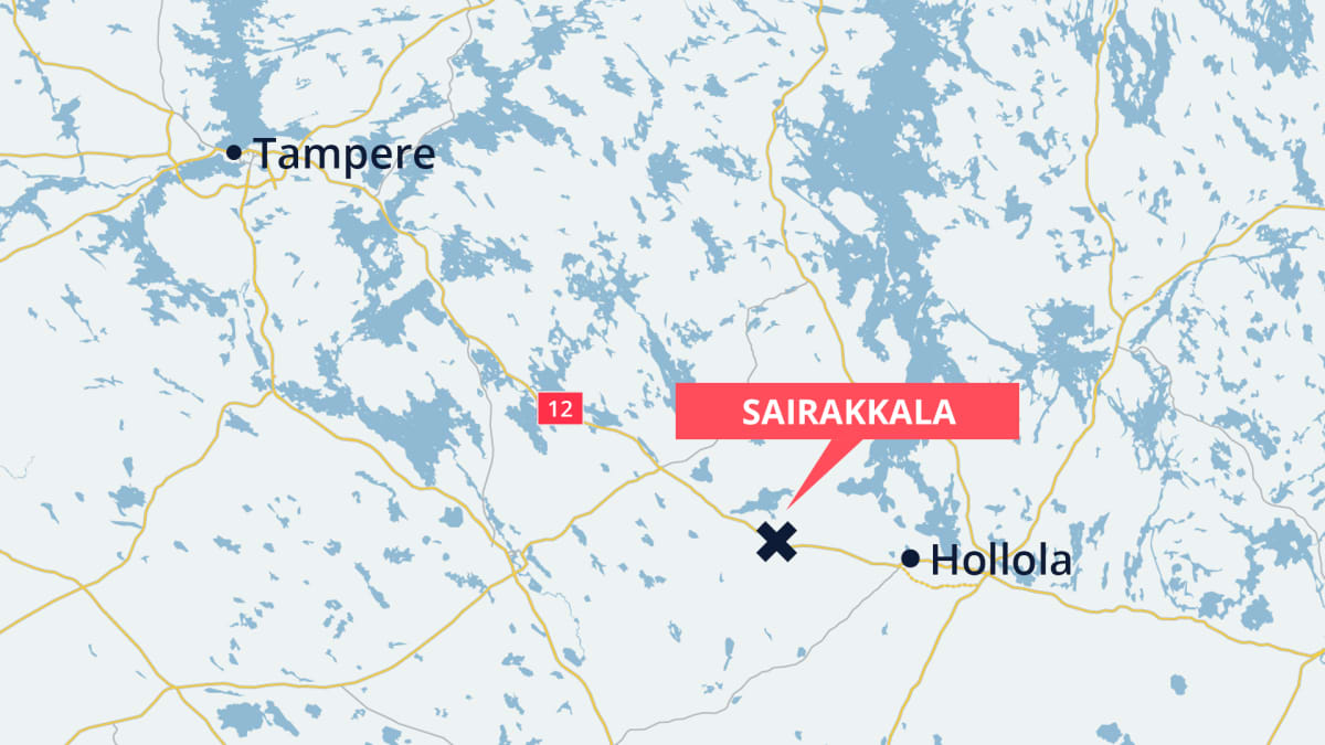 Karttaan merkitty onnettomuuspaikka valtatie 12:lla Sairakkalassa, Hollolassa
