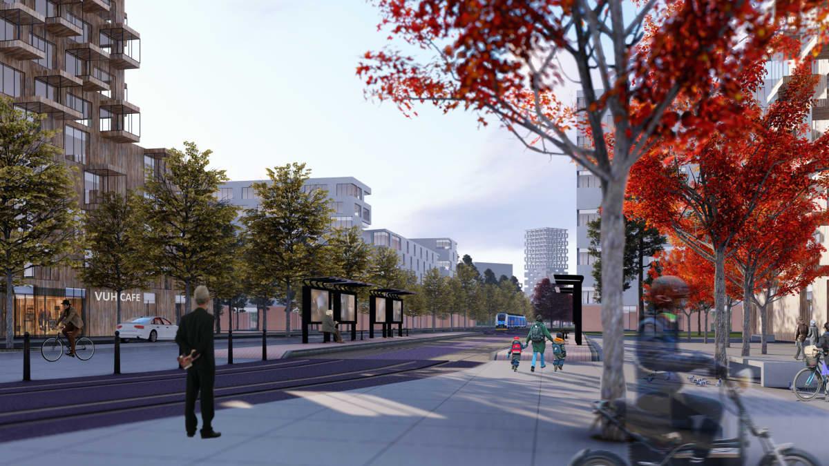 Havainnekuvassa kaupunkiympäristöä ja korkeita kerrostaloja Kiviruukin asuinalueella.