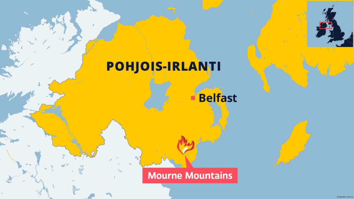 Kartta Pohjois-Irlannista