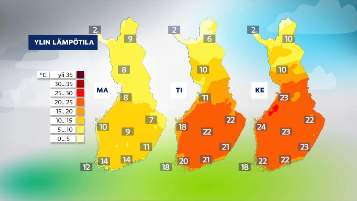 Sääkuva: Sää lämpenee tulevalla viikolla, tiistaista eteenpäin lämpötila kohoaa laajalti kesäisin lukemiin