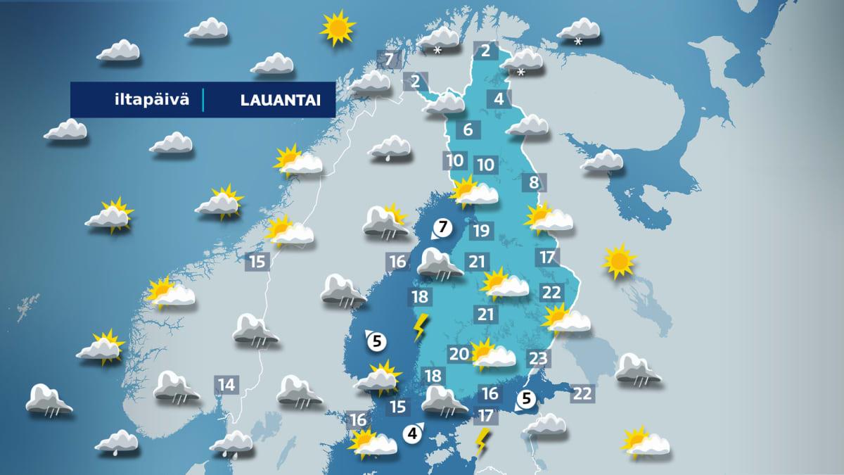 Lauantai iltapäivän sääkartta.