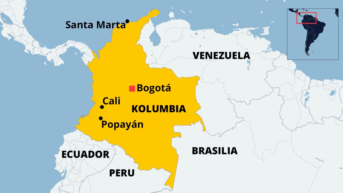 Kartta missä näkyy Kolumbian sijainti