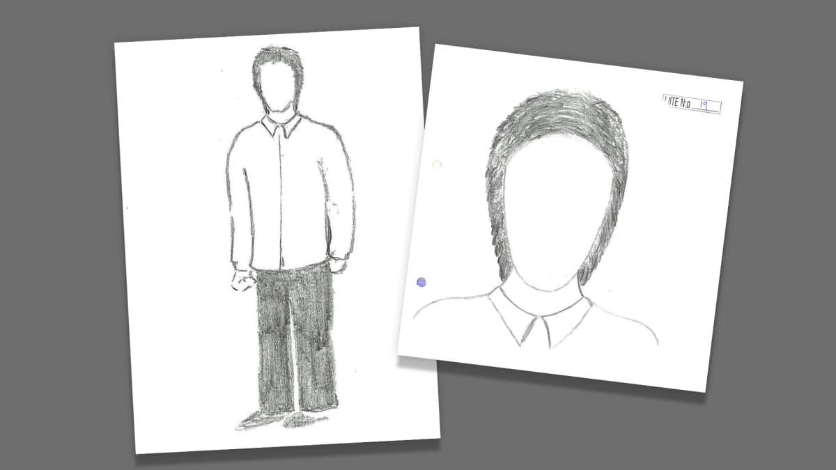 Kaksi piirrettyä kuvaa oletettavasti mieshenkilöstä.