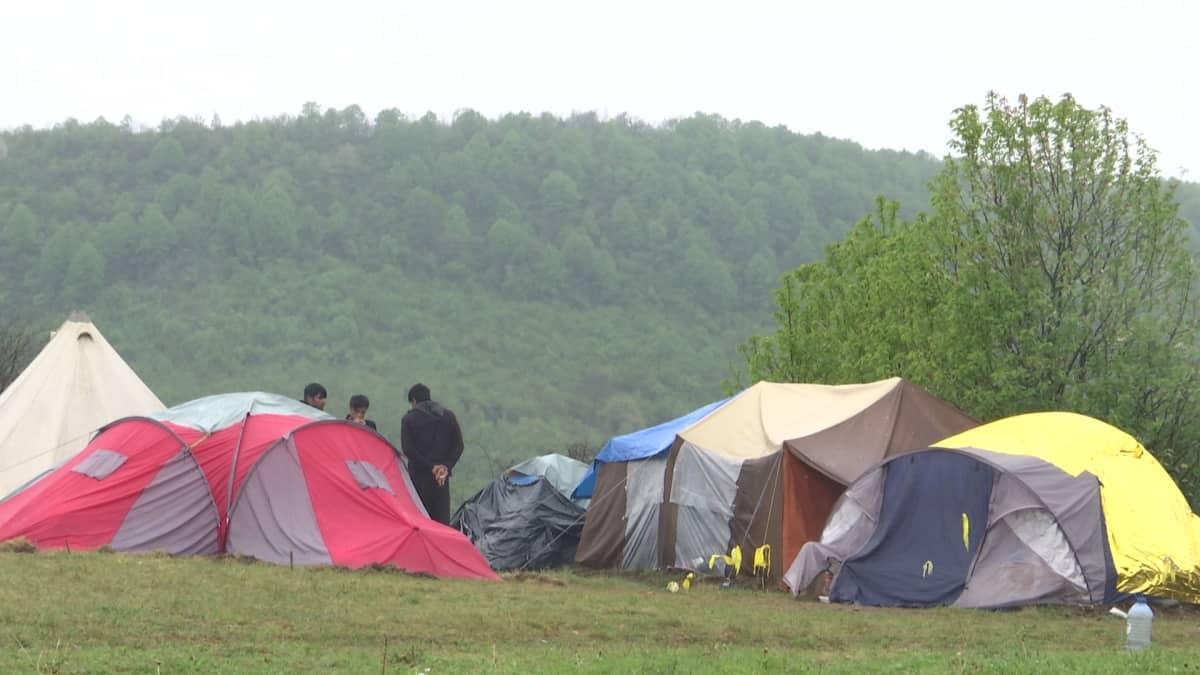 Siirtolaisten telttoja niityllä.