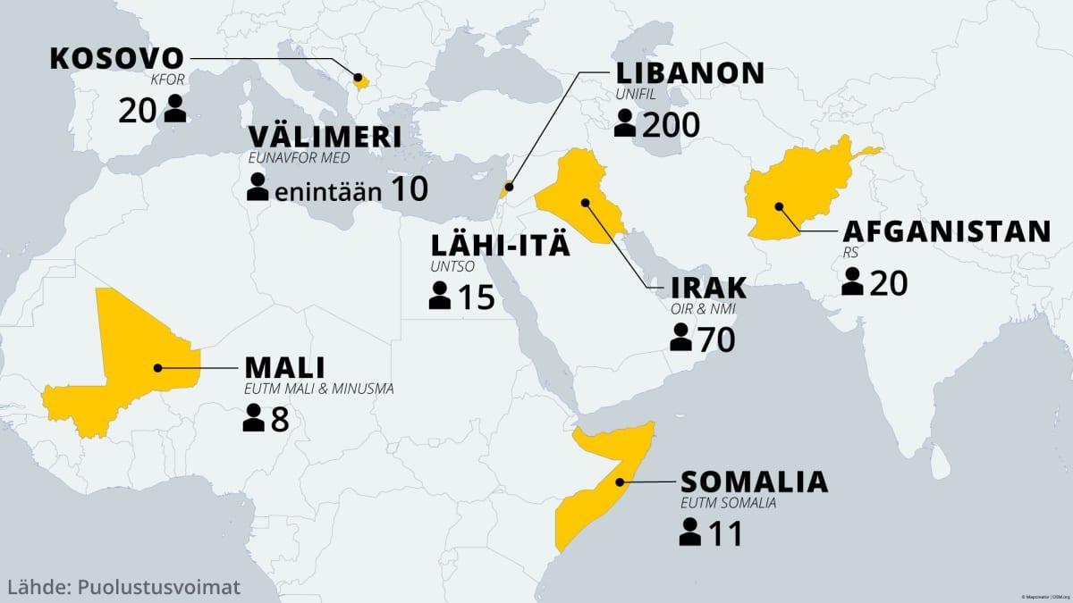 Kartta johon on merkitty suomalaisten rauhanturvaoperaatioissa työskentelevien määrä. Eniten suomalaisia toimii Libanonissa.