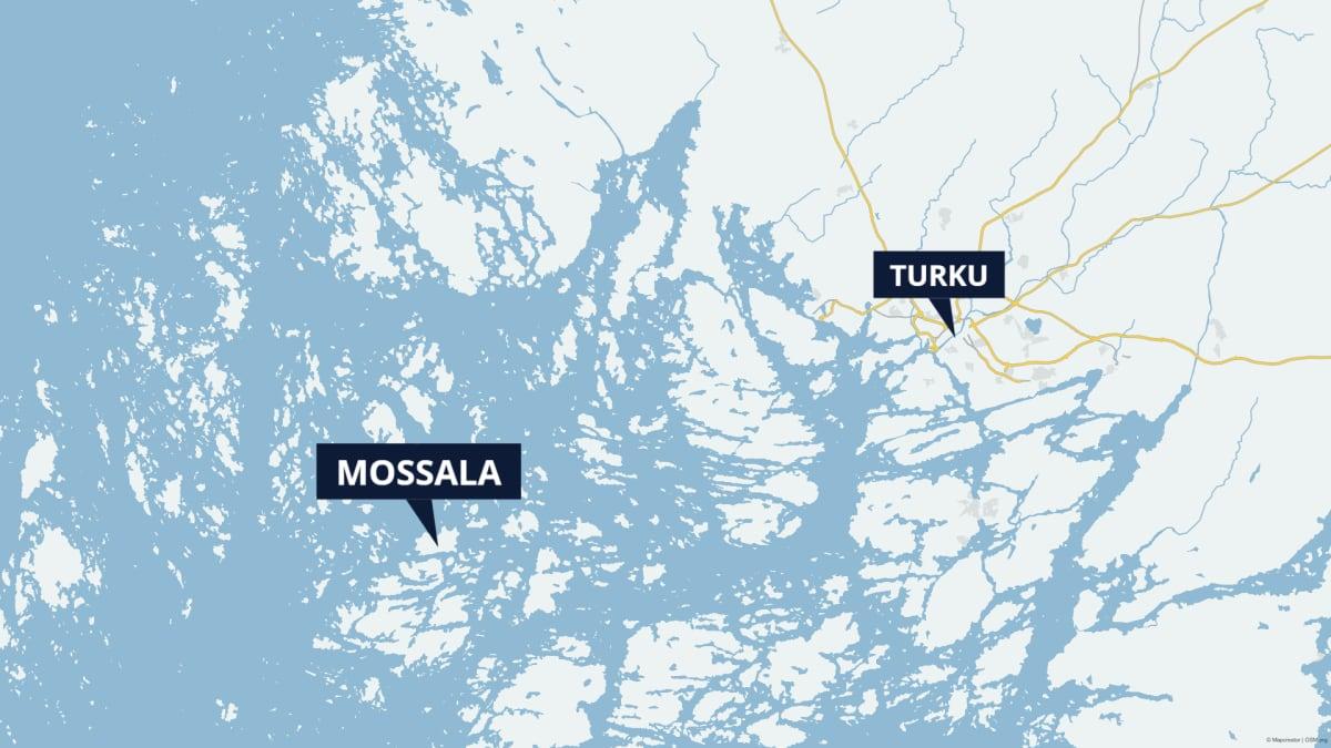 Kartta Mossalan sijainnista suhteessa Turkuun