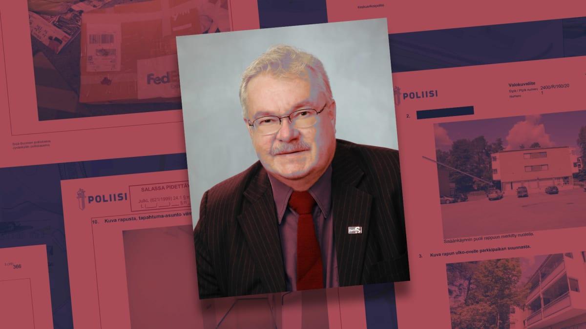 Tyylitelty valokuva Pekka Katajasta, taustalla on häilyvästi sivuja poliisin esitutkintapöytäkirjasta.