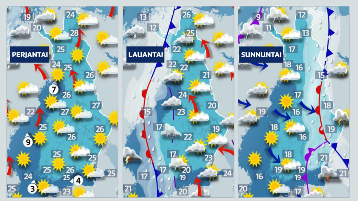 Sääkartta viikonlopulla: Perjantaina vielä hellettä. Viikonloppuna viilenee ja lännestä leviää sateita.