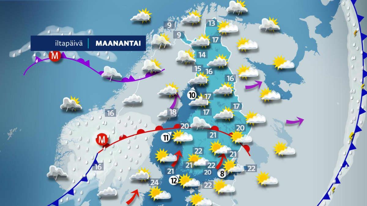 Maanantai-iltapäivän sää.