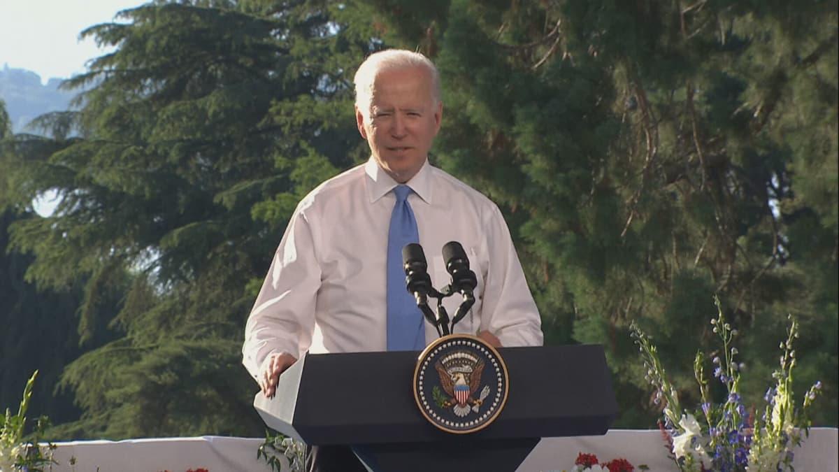 Biden piti lehdistötilaisuutta Putinin jälkeen, ennen lähtöä kotiin Yhdysvaltoihin.