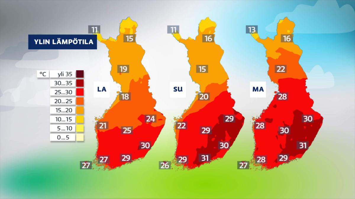 Sääkuva: Hyvin lämmintä ilmaa leviää etelä- ja keskiosaan Suomea.