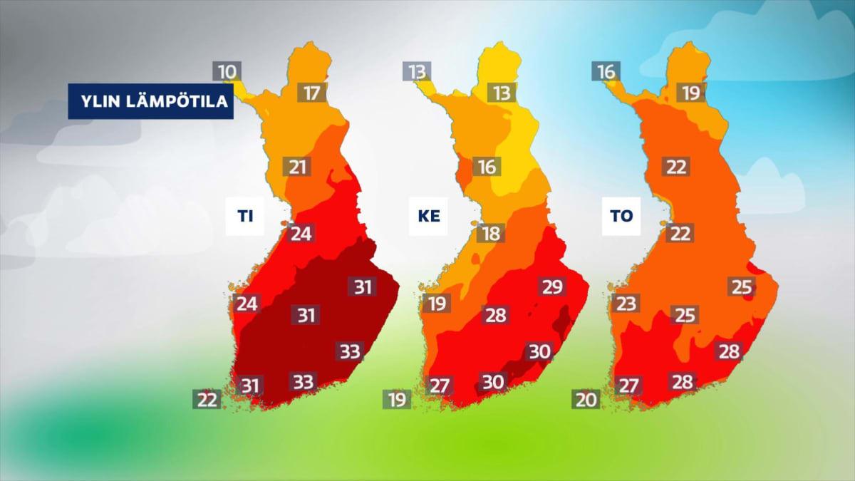 Kartassa näkyy lämpöasteet Suomessa tiistaina, keskiviikkona ja torstaina. Samalla se osoittaa, että pahin kuumuus hellittää torstaina.