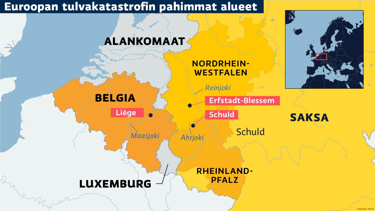 Saksan ja Belgian tulva-alueet kartalla.