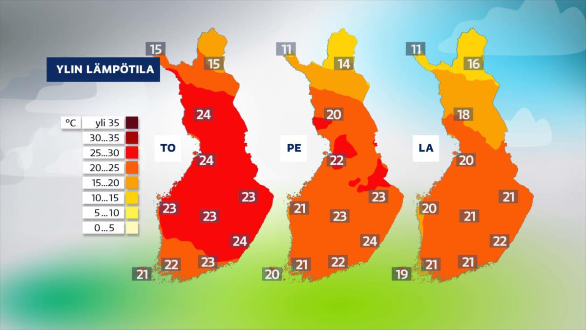 Sääkuva: Viikon edetessä sää viilenee ja epävakaistuu, lämpötilaennuste loppuviikolle
