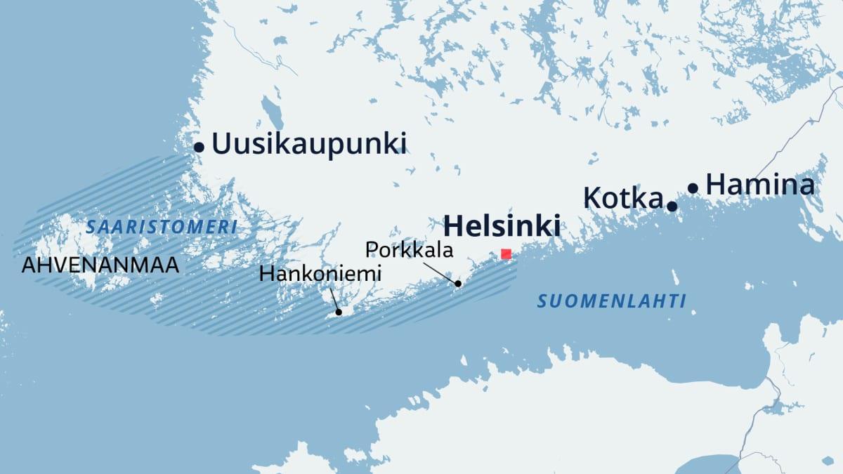 Veneily keskittyy merellä pääosin Helsingin ja Saaristomeren väliselle alueelle.