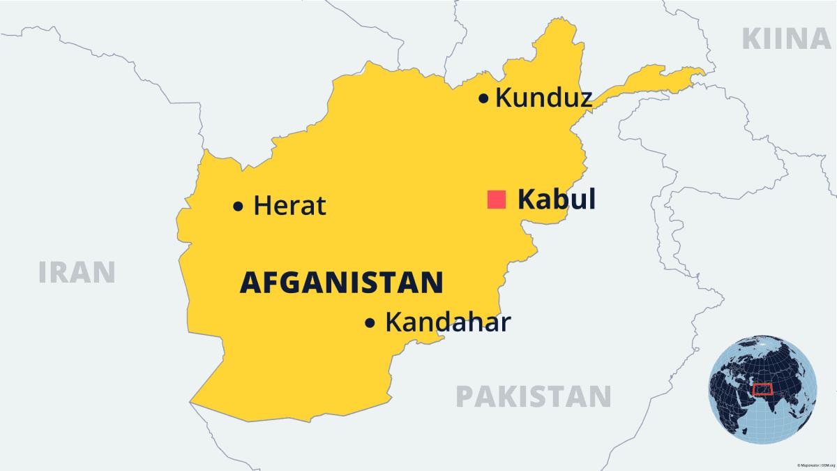 Afganistanin kartta, johon merkitty pääkaupunki Kabul ja kaupungit Herat ja Kunduz.