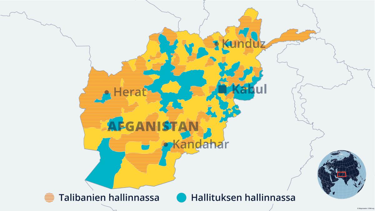 Näet pallukasta vetämällä, miten taleban on vallanntu alueita Afganistanissa. Taistelutilanne vaihtelee päivittäin. Grafiikka 27.7. 2021.