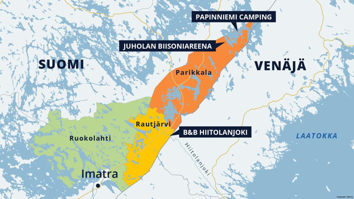 Kartta Parikkalan, Ruokolahden ja Rautjärven alueesta
