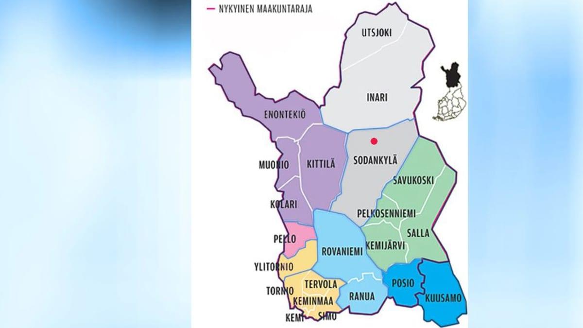 Lapin kuntaehdotus. Punainen piste on Vuotson kylä, joka ehdotuksessa tulisi osaksi Inarin kuntaa ja Pello valitsisi Rovaniemen tai Kemi-Tornion