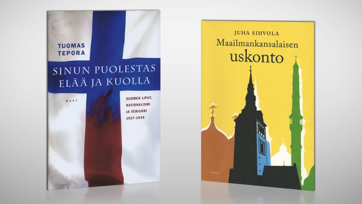 Tuomas Temporan Sinun puolestas elää ja kuolla- ja Juha Sihvolan Maailmankansalaisten uskonto -kirjojen kannet.