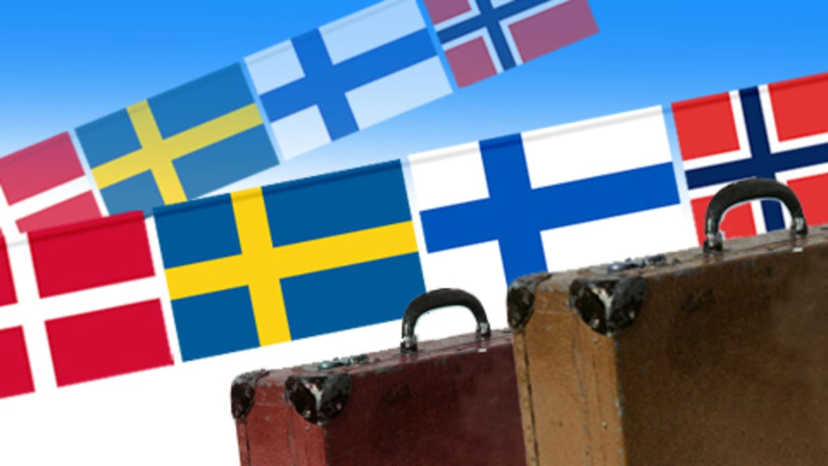 Pohjoismaiden lippuja ja matkalaukkuja