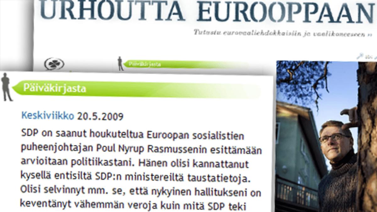 Kuvassa ruutukaappaus Matti Vanhasen blogisivuilta.