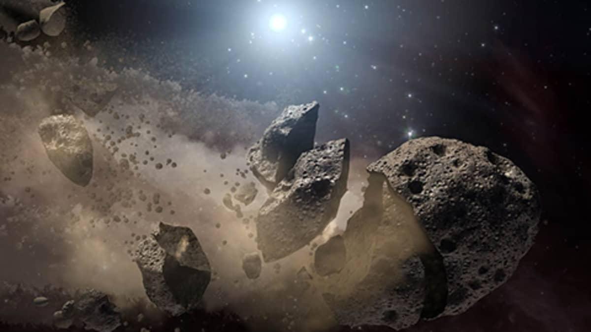 Havainnekuva pölyksi muuttuvasta asteroidista.