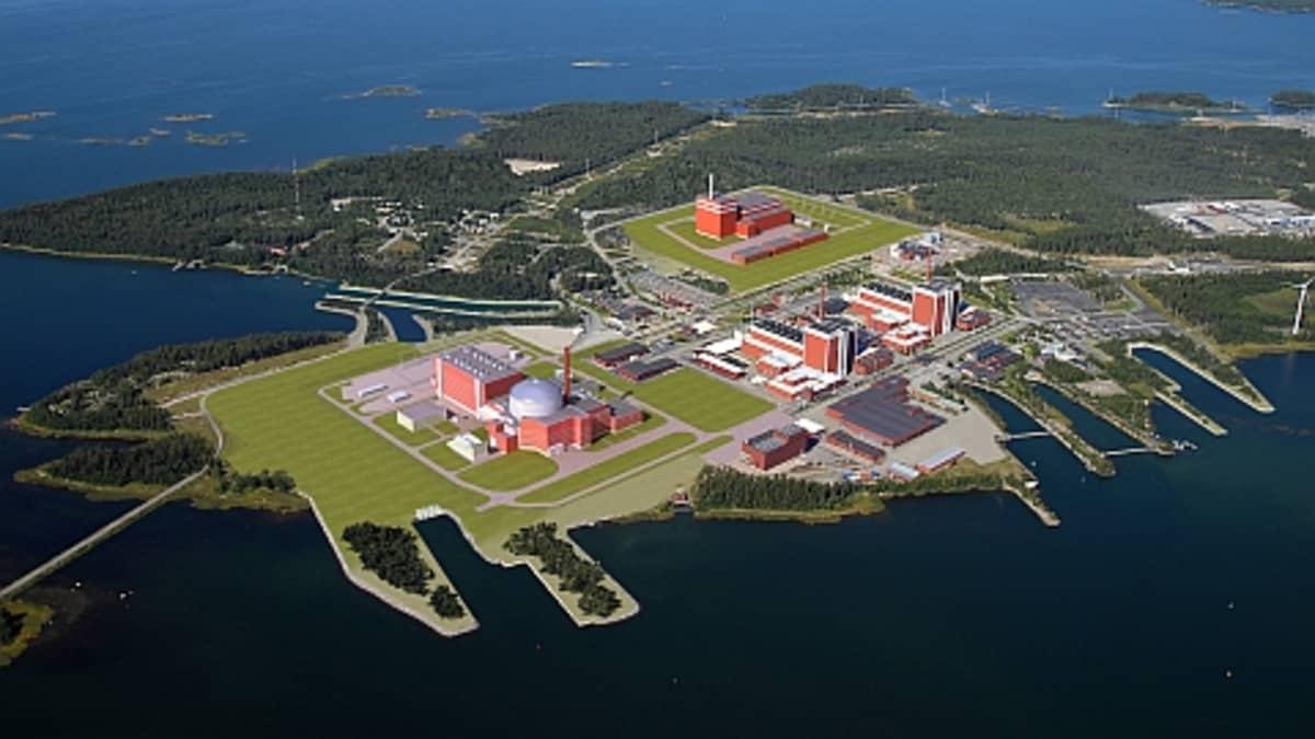 Havainnekuva suunnitellusta Olkiluodon neljännestä ydinvoimalasta.