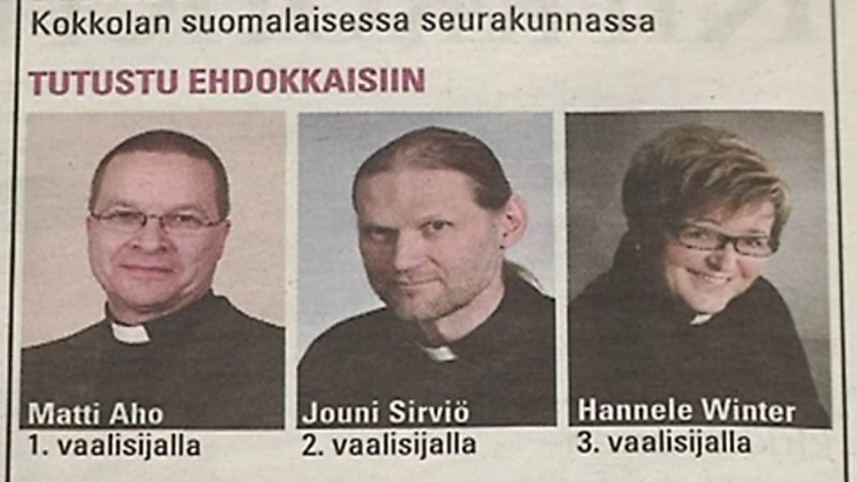 Kuvassa kirkkoherraehdokkaat Matti Aho, Jouni Sirviö ja Hannele Winter