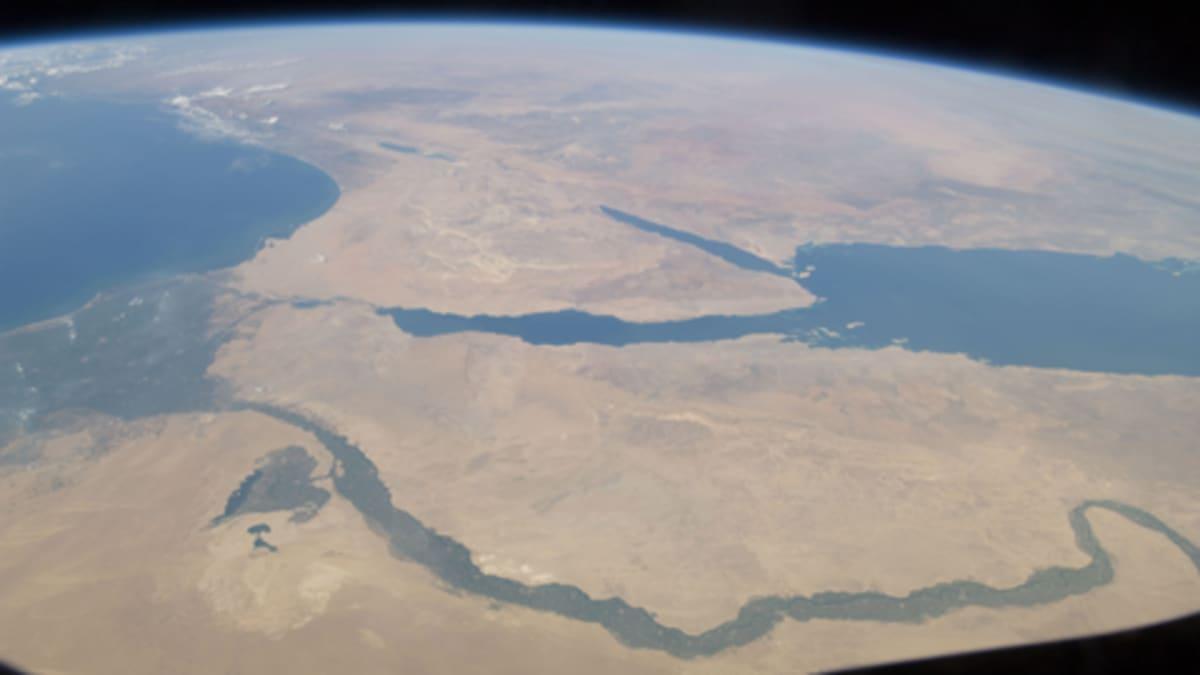 Niilin alue Kansainväliseltä avaruusasemalta nähtynä.