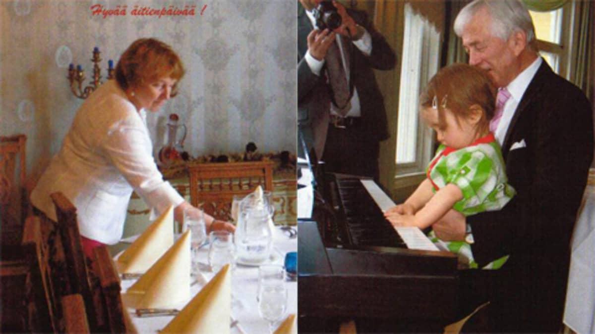 äitienpäiväpöytä ja pianonsoittoa
