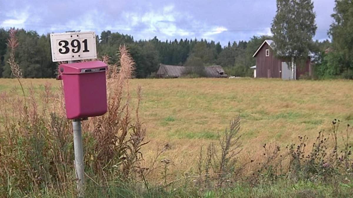 Postilaatikko maalaismaisemassa. Oinaalan maisemaa Rengossa.
