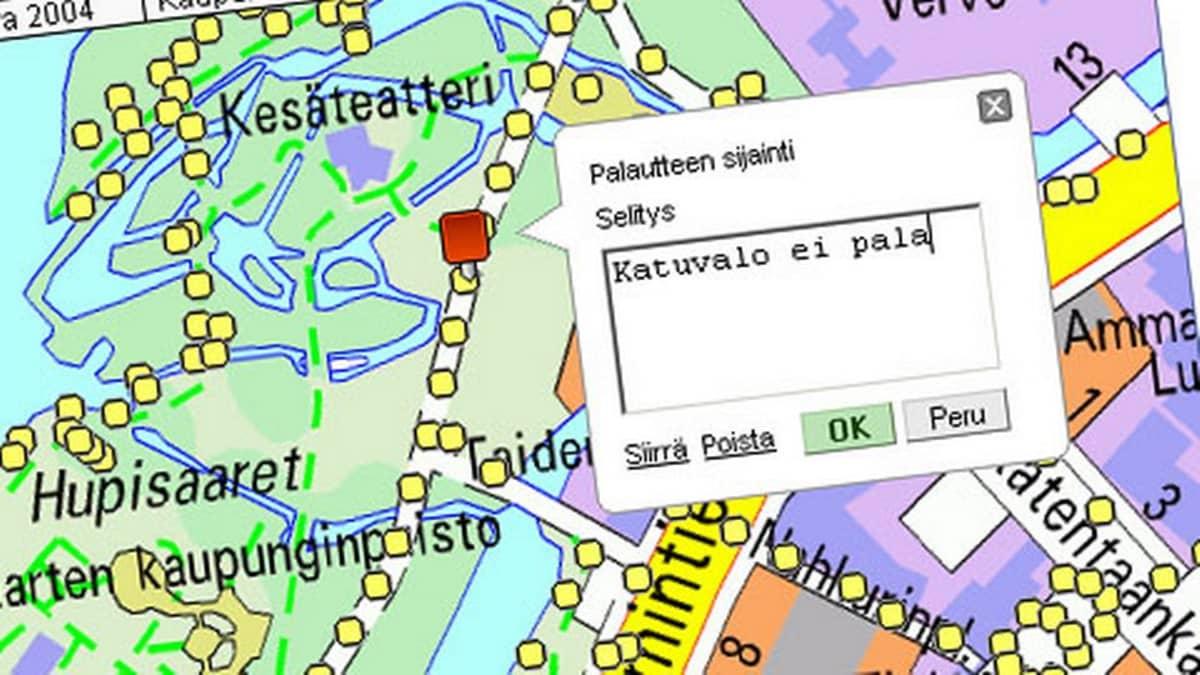 Oulun kaupungin katuvalaistuksen vikailmoituspalvelussa voi ilmoittaa epäkuntoisesta katuvalaisimesta.