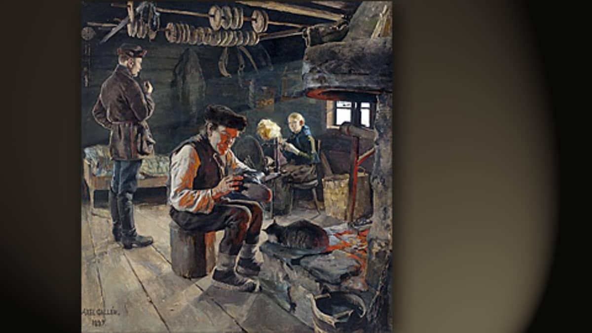 Gallen-Kallelan maalaus Talonpoikaiselämää