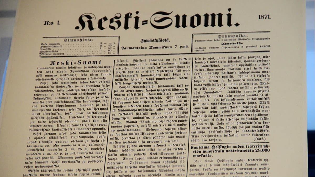 Keski-Suomi -lehden ensimmäinen numero