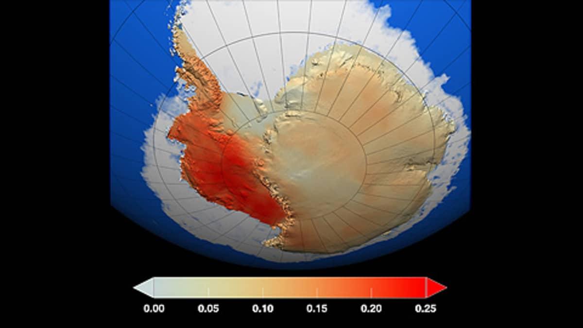 Sääasemien ja satelliittien tiedoista koostettu kuva Etelämantereen lämpenemisestä vuosina 1957 - 2006. Tummimman punainen väri tarkoittaa vuosikymmenen keskilämpötilan nousua 0,25 Celcius-asteella.