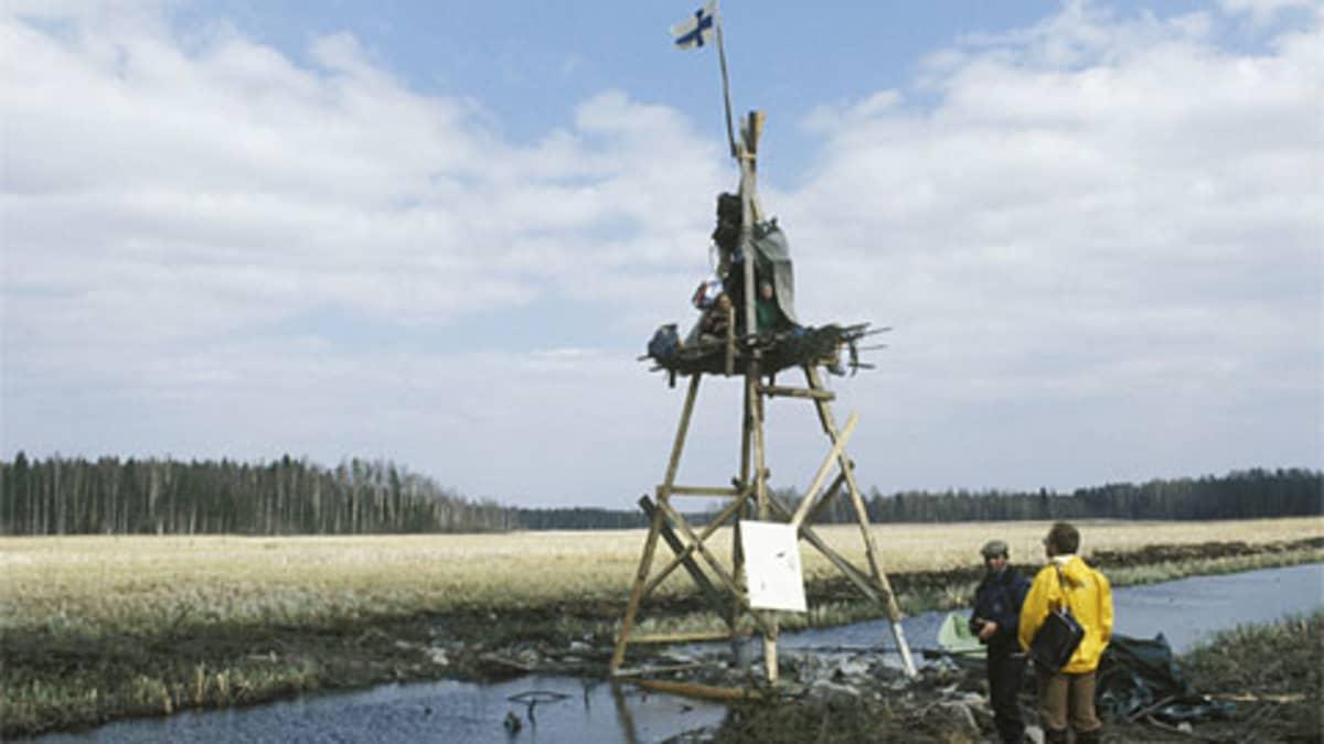 Aktivisteja lintujärvelle pystytetyssä tornissa