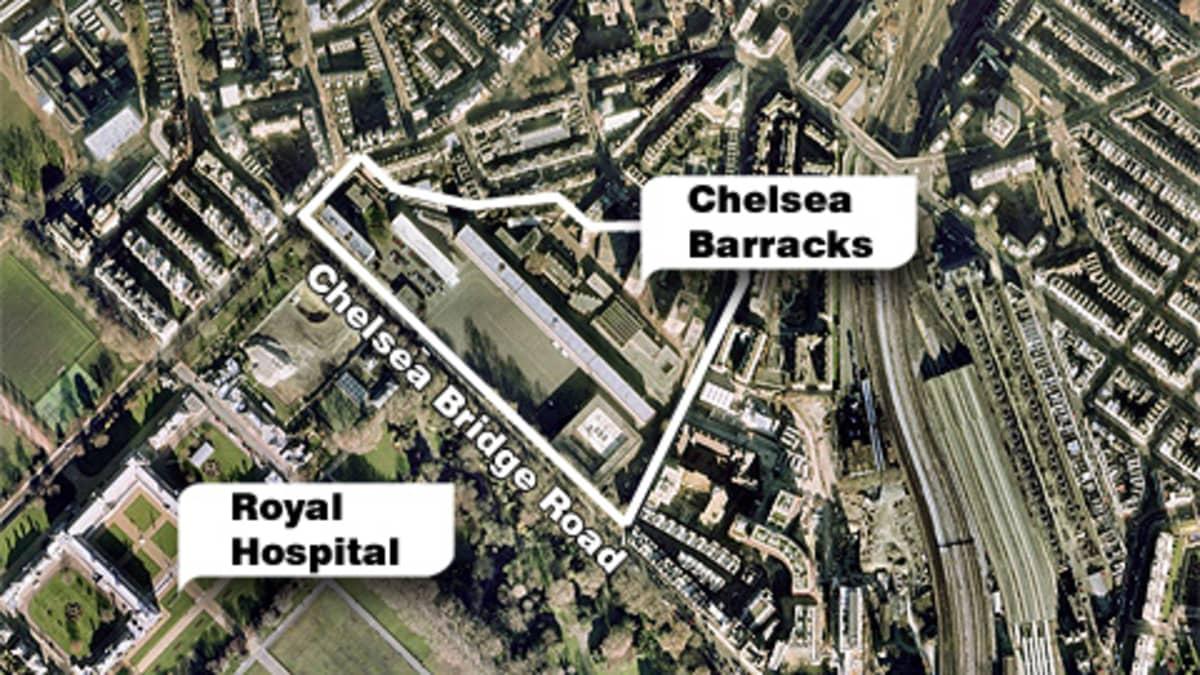 Satelliittikuva Chelsea Barracksin alueesta