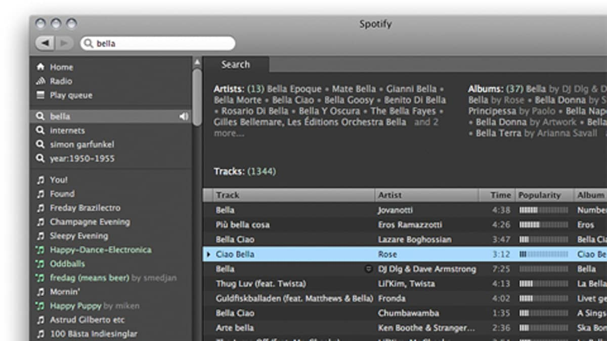 Kuva Spotifyn käyttöliittymästä