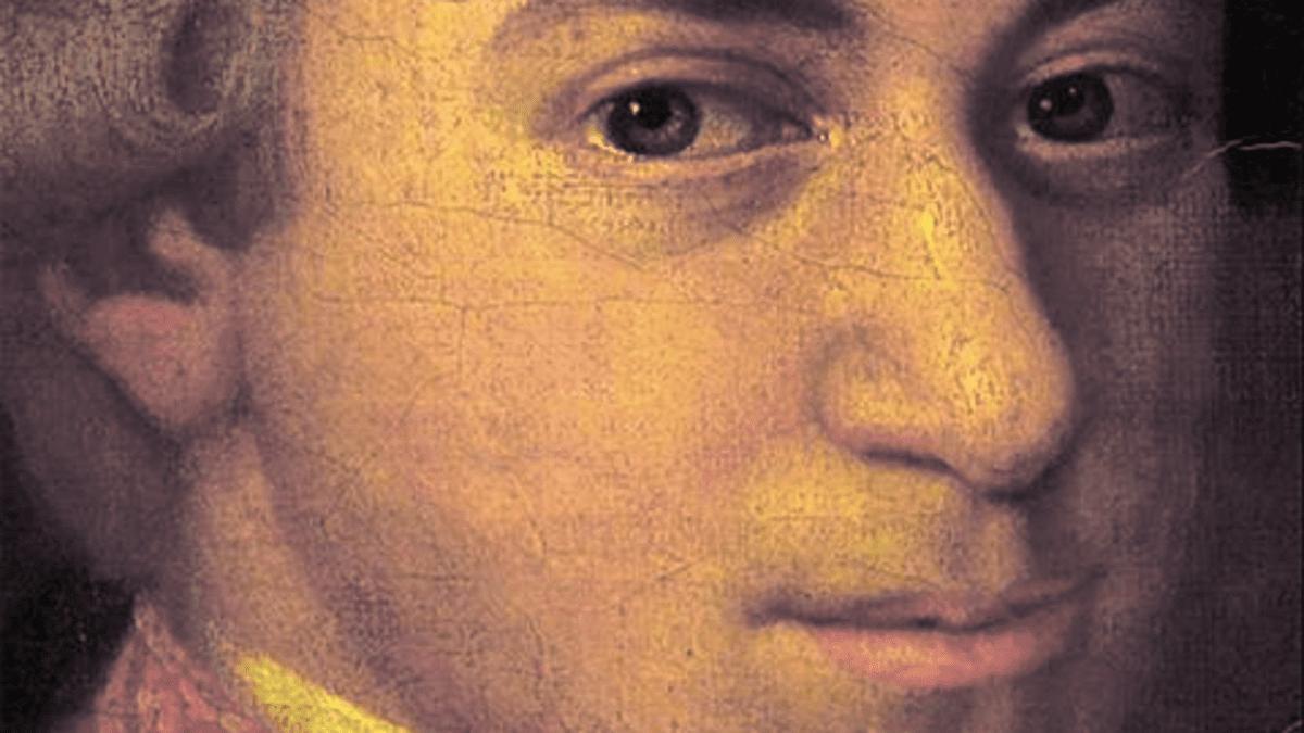 Yksityiskohta Wolfgang Amadeus Mozartin perheen muotokuvasta.