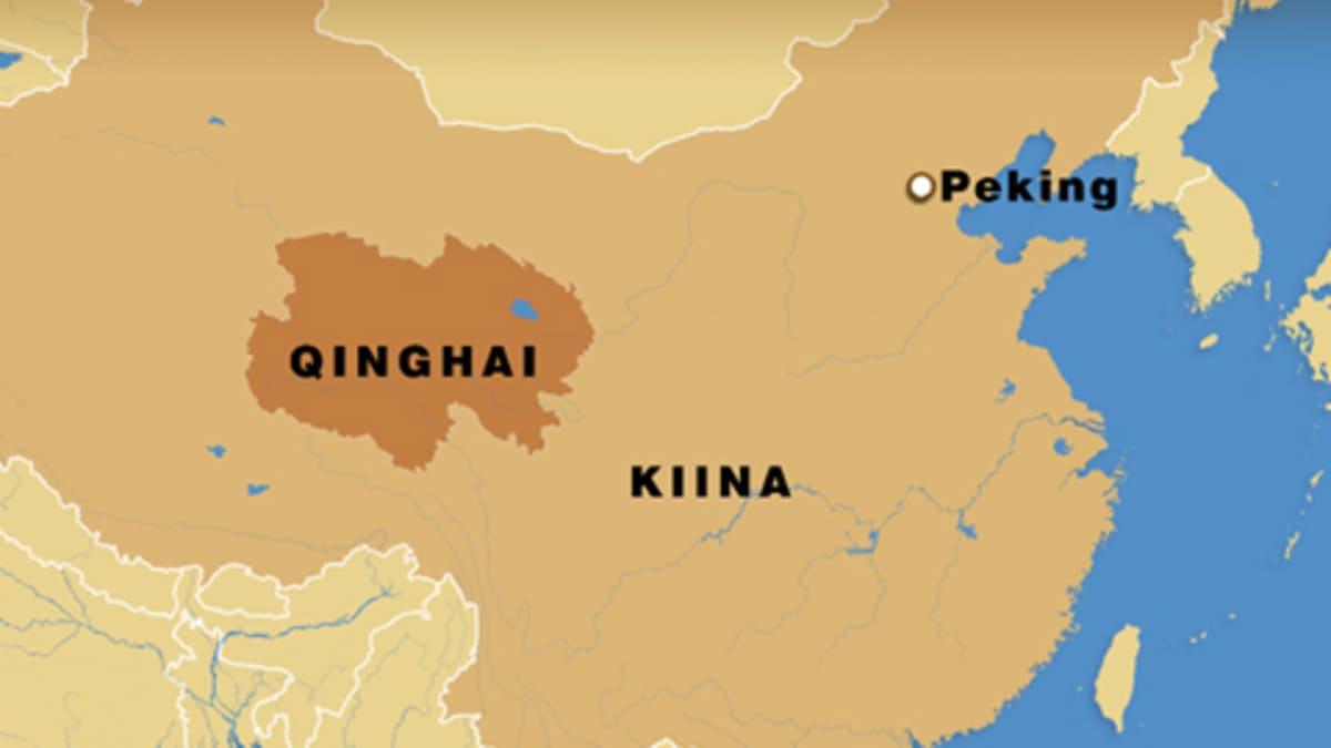 Kiinan kartta jossa Qinghain maakunta.