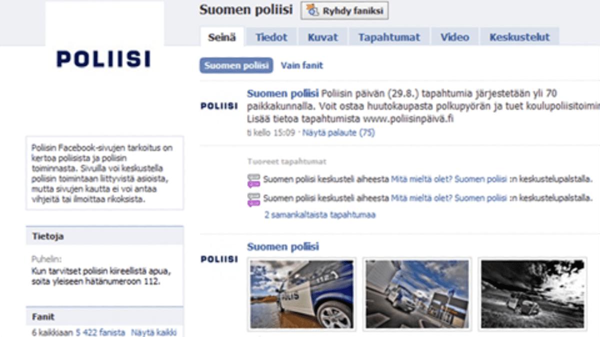 Yksityiskohta poliisin Facebook-sivustosta.