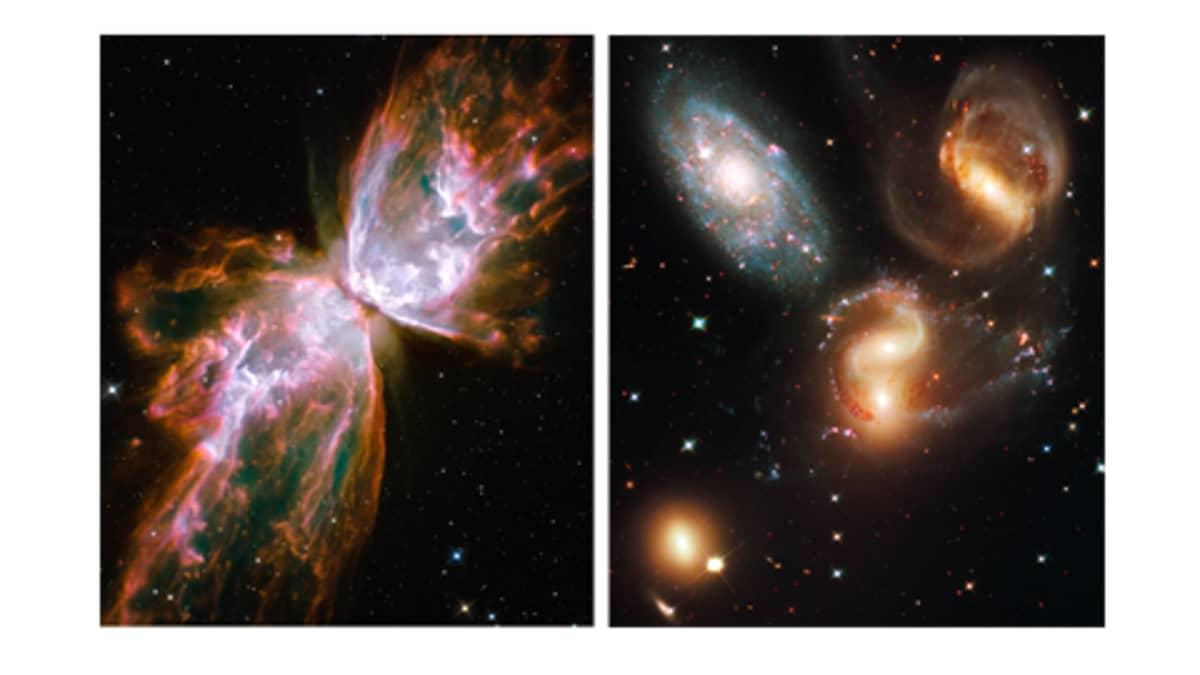 Hubble-satelliitin ottamaa kuvaa avaruudesta.