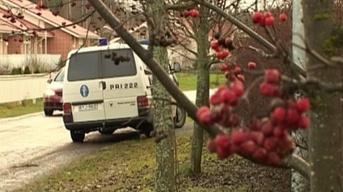 Poliisiauto pysähtyneenä tien viereen Ulvilassa. Pihlajanmarjoja puussa.