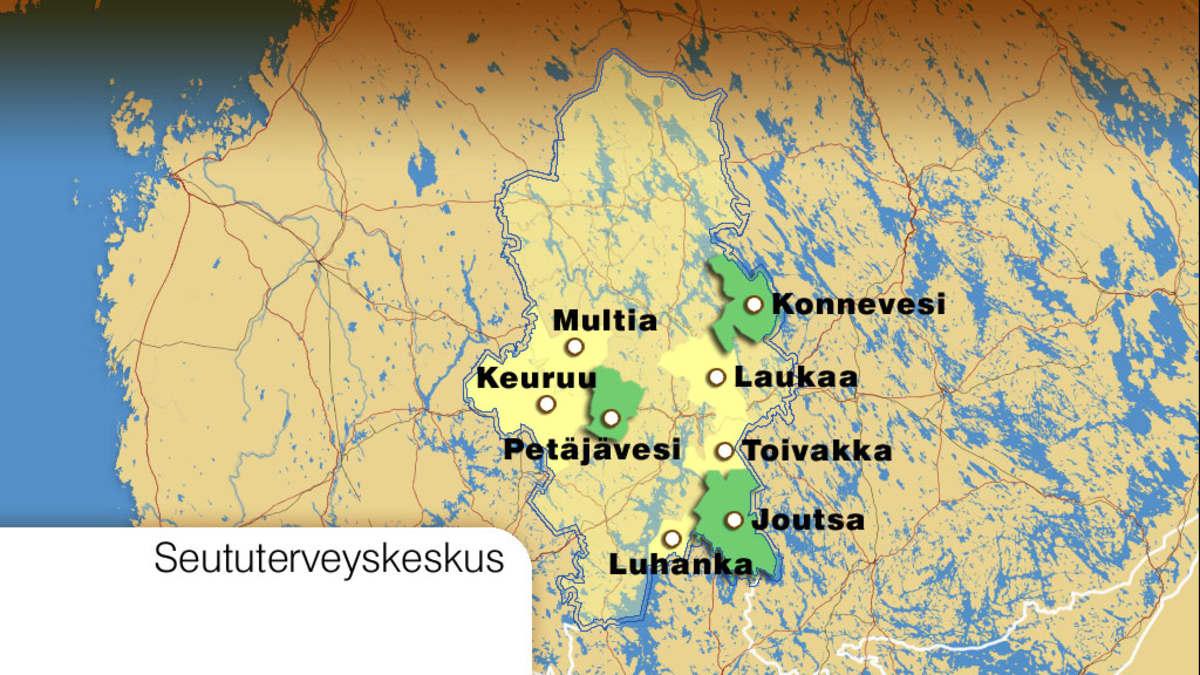 Seututerveyskeskuksen aiesopimuksessa olevat kunnat kartalla.