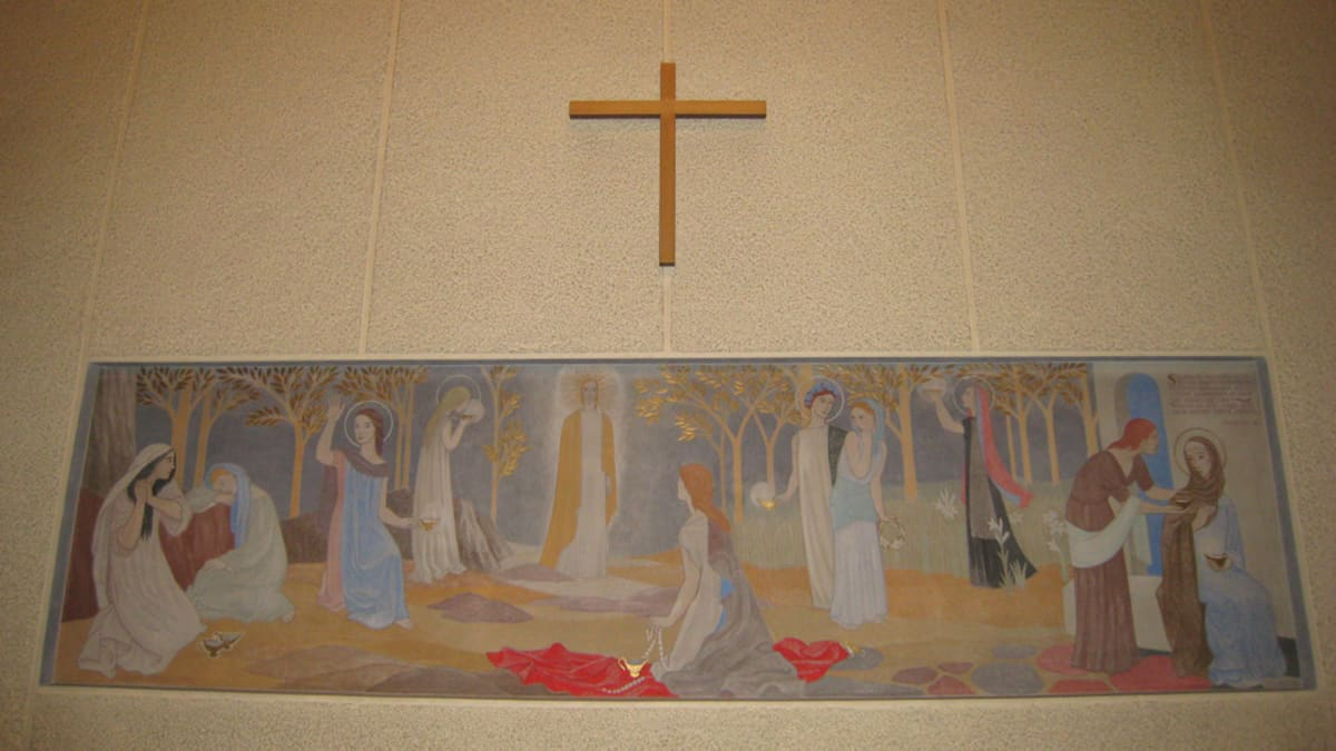 Tove Janssonin alttaritaulu Kymmenen neitsyttä on Teuvan kirkossa.