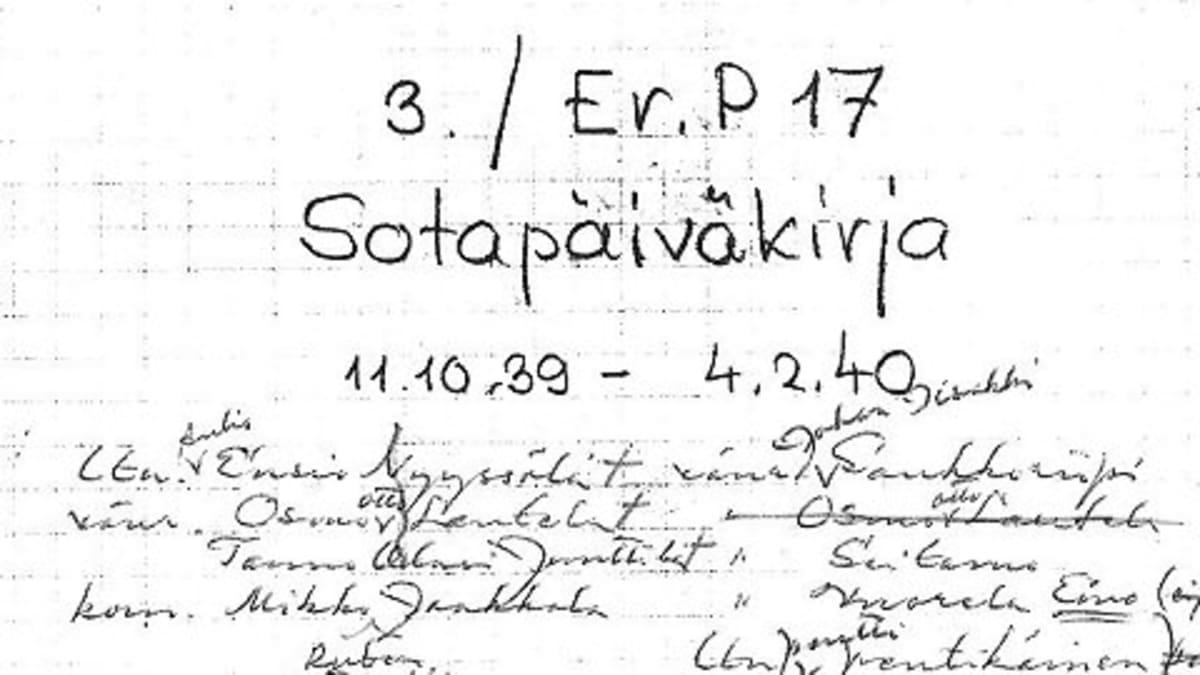 Erillispataljoona 17:n 3. komppanian (3. / Er.P 17) sotapäiväkirja